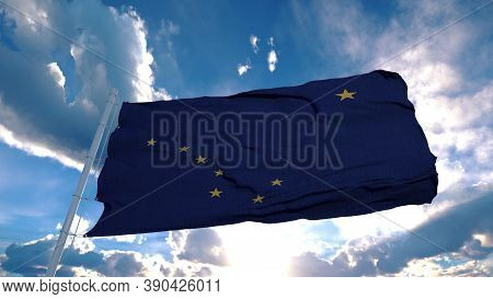 Alaska Flag On A Flagpole Waving In The Wind In The Sky. State Of Alaska In The United States Of Ame