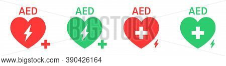 Aed Vector Icon Set. Hearts Electricity. Signs Automated External Defibrillator. Vector Illustration