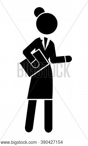 Black Flat Silhouette Of Moving Businesswoman With Document. Confident Woman. Rounded Edges Shape. F