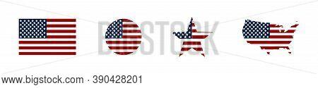 Usa. American Flag With Usa Map And Stars. America. Usa Flag. Vector Illustration