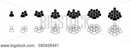 People. People Icons In Modern Simple Flat And Lines Design. People Black Vector Icon, Isolated. Per