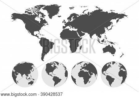 Earth Globe. World Map. Travel Concept. Earth. Vector Illustration