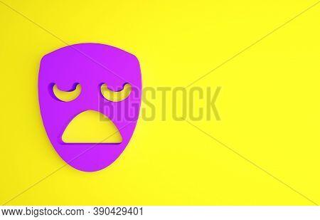 Purple Drama Theatrical Mask Icon Isolated On Yellow Background. Minimalism Concept. 3d Illustration