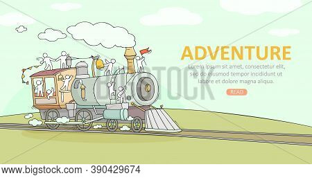 Sketch Background With Little People On Train. Doodle Cute Miniature Scene About Transportation. Han