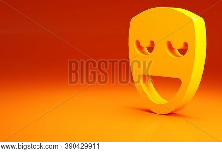 Yellow Comedy Theatrical Mask Icon Isolated On Orange Background. Minimalism Concept. 3d Illustratio