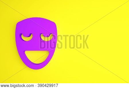 Purple Comedy Theatrical Mask Icon Isolated On Yellow Background. Minimalism Concept. 3d Illustratio