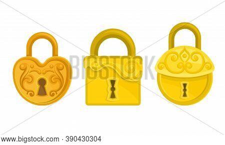 Golden Padlock With Keyhole As Security Mechanism Vector Set