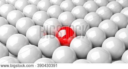 Single Red Sphere In The Middle Of Group Of White Spheres Over White Background, Team, Leadership Or