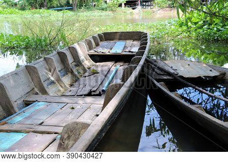 Local Sampan Boat Of Thailand In The Canal, One Available And Another One Not Available Because Boat