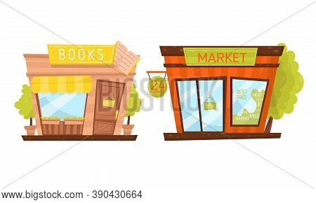 Shop Window Or Store Front With Market And Books Sign Vector Set