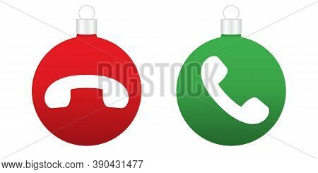 Accept And Decline Button In Christmas Style. Ringing Xmas Balls. Merry Christmas Bulbs. Isolated Ro