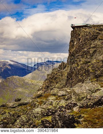 Mountains Landscape With Dalsnibba Area. Many People Tourists On Geiranger Skywalk Viewing Platform,