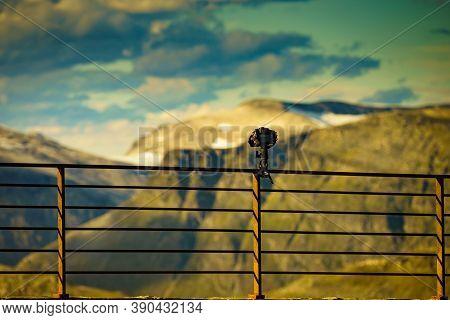 Camera Take Photo In Mountains, Norway