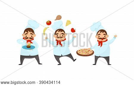 Man Chef With Moustache Juggling With Foodstuff And Decorating Dessert Vector Illustration Set