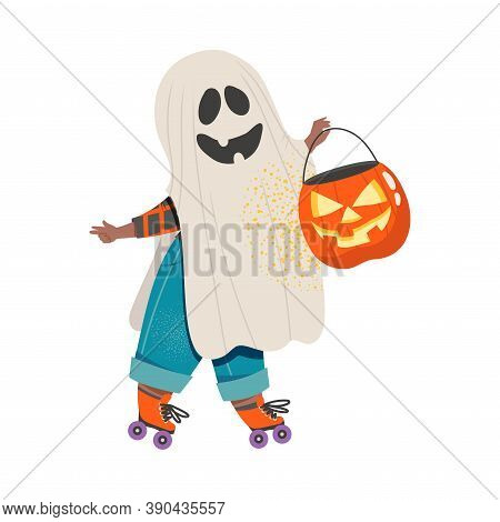 Cute Boy In Halloween Costume, Little Child Dressed As Ghost, Happy Halloween Party Festival With Ki