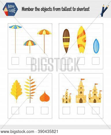 Game For Kids To Determine The Size Of The Subject. Cartoon Style. Vector Illustration.