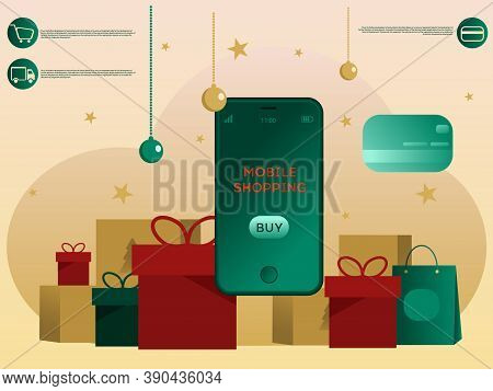 Christmas Banner About Mobile Shopping. Mobile Shopping, Christmas Discounts Christmas Or New Year B