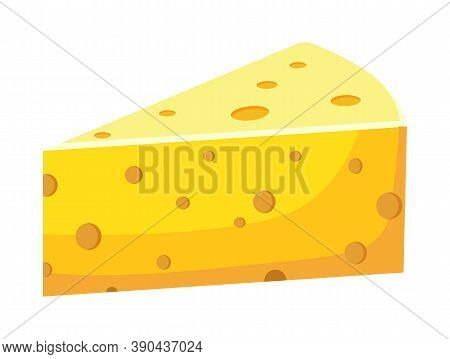 Isolated At White Dairy Product. Triangular Yellow Piece Of Cheese Ingredient For Culinary, Sandwich