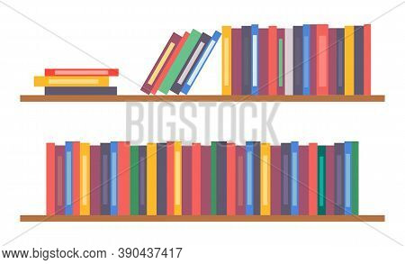 Bookshelf With Books, Vector Simple Icon With Collection Or Set Of Colorful Folders, Shelves With No