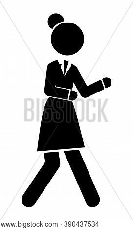 Businesswoman Hurry Up Or Walking, Black And White Logo Avatar With Businessperson Silhouette Wearin