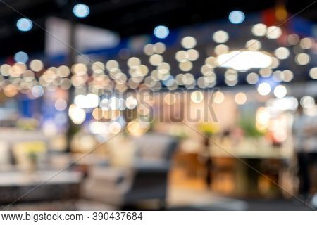 Light Bokeh Event Exhibition Business Concept; Abstract Blurred Of Defocused Convention Exhibit Trad