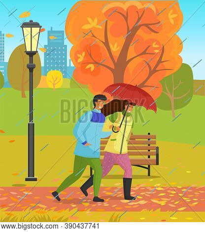Autumn Park, Couple Of Happy Girl And Guy With Umbrella Walking In Urban Park Under Rain With City B