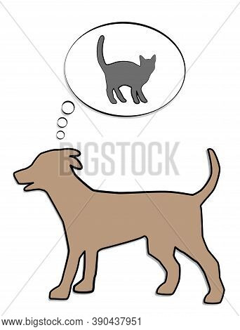 Dog Thinking Of Chasing Cats - Thought Balloon With Gray Cat. Isolated Comic Vector Illustration On