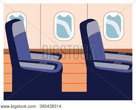 Seats In Plane Near Windows, Single Seat In Business Class, High Comfortable Trip In Airplane. Aicra