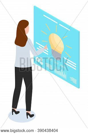 Woman Using Touchscreen, Lamp Bulb, Office Worker At High Heels Customize Settings At Screen, New Id