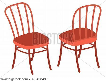 Isolated Two Chairs With Back, Front Back View. Modern Stylish Furniture For Home Or Office. Cozy Pl