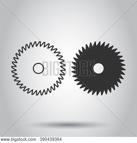 Saw Blade Icon In Flat Style. Circular Machine Vector Illustration On White Isolated Background. Rot