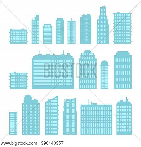 Set Of Multi-storey High-rise Buildings. Cartoon Style. Vector Illustration.
