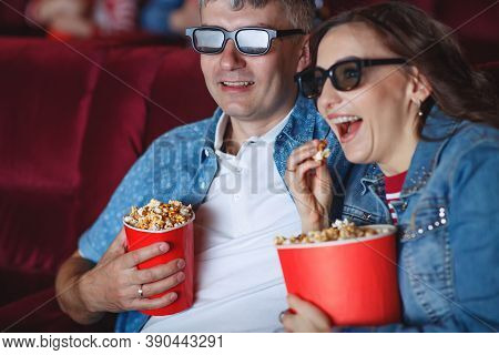 The Spectators Sitting In The Cinema And Watching Movie. Concept Of A Variety Of Human Emotions. Hig