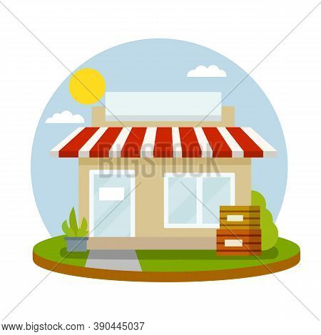 Small Shop. Store With Red Roof. Food Trade And Supermarket. Facade Of The House With Showcase.