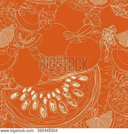 Seamless Pattern With A Lot Of Whole And Sliced Fruits, Berries, Vegetables. Summer Vector Backgroun