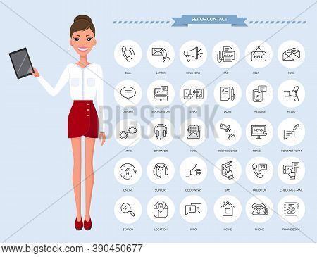 Communication Thin Line Icons. Businesswoman With Tablet And Set Of Contact Icons, Connection Method