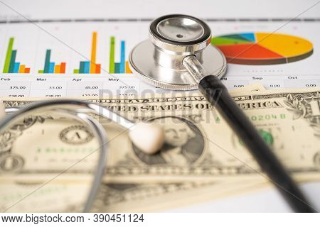 Stethoscope On Us Dollar Banknotes, Finance, Account, Statistics, Analytic Research Data And Busines