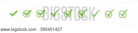 Check Marks. Check Mark Green Vector Icons, Isolated. Simple Check Marks. Checklist Symbols. Vector