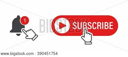 Subscribe, Bell. Subscribe Button With Hand Cursor And Bell. Subscribe Red Button Vector Icon, Isola