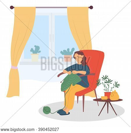 Beautiful Woman Sitting In The Armchair And Knitting Vector Illustration. Famale Sitting In A Chair