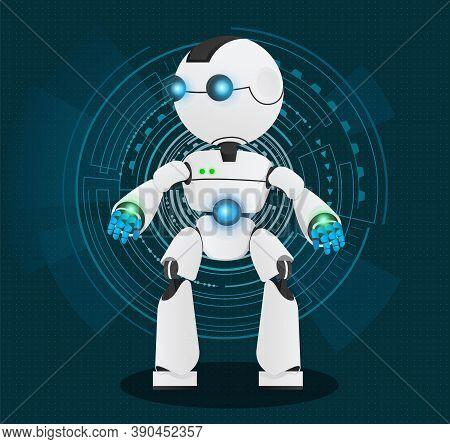 White Robot Vector Illustration Standing Full Length Against Futuristic Digital Blue Background. Sci