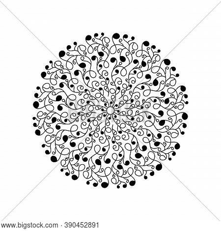 Monochrome Beautiful Decorative Lace Mandala, Stylized Twigs With Round Leaves. The Design Element O