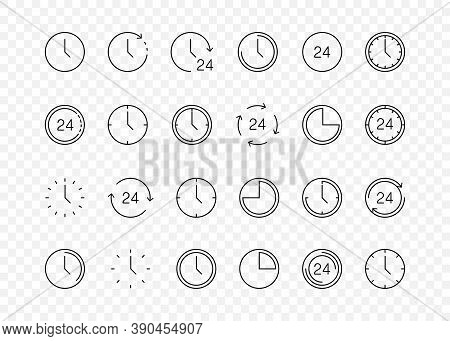 Time Icons. Clock Collection. Time And Clock Vector Collection. Big Set Of A Round Line Icons. Time