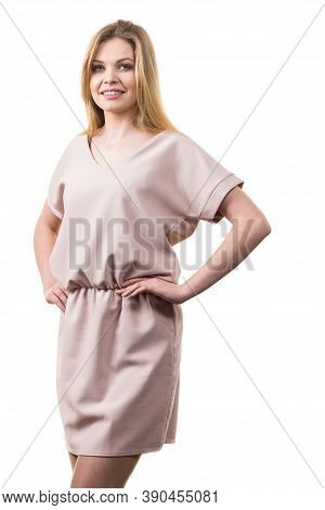 Fashionable Pretty Woman Wearing Elegant Casual Pink Tunic Dress Presenting Stylish Elegant Outfit.