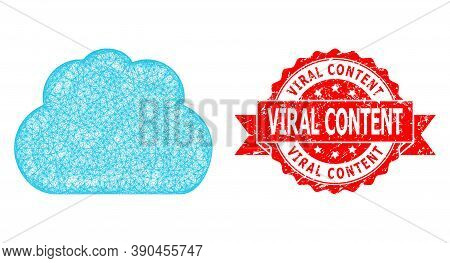 Network Cloud Icon, And Viral Content Rubber Ribbon Seal. Red Stamp Seal Has Viral Content Title Ins