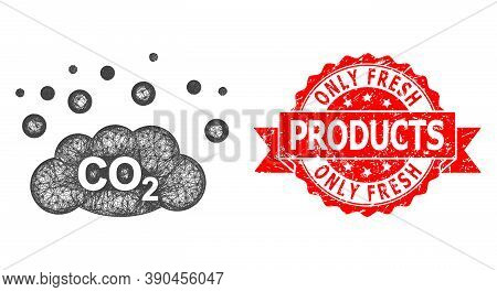 Wire Frame Co2 Gas Emission Icon, And Only Fresh Products Unclean Ribbon Stamp. Red Stamp Has Only F