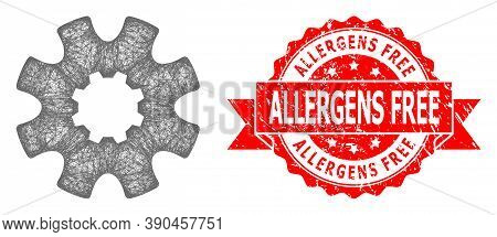 Net Cog Gear Icon, And Allergens Free Scratched Ribbon Seal Print. Red Stamp Seal Has Allergens Free