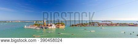 Aerial Panoramic View Of Venetian Lagoon With San Giorgio Maggiore Island, Lido Island And Giudecca