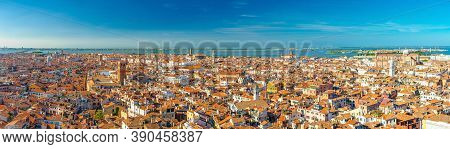 Aerial Panoramic View Of Venice City Old Historical City Centre, Buildings With Red Tiled Roofs, San