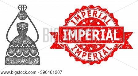 Wire Frame Crowned Bride Icon, And Imperial Unclean Ribbon Watermark. Red Seal Contains Imperial Tex